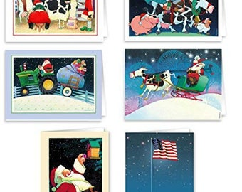 Country & Farm Theme Christmas Cards - 24 Cards and  Envelopes