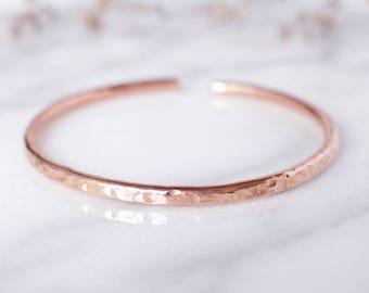 Round Hammered Copper Bracelet