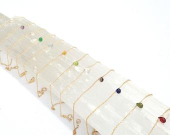 Dainty Bracelet, Minimal Bracelet, Birthstone Bracelet, Beaded Bracelet, Simple Bracelet, Gemstone Bracelet, Thin Gold, Gold Bracelet