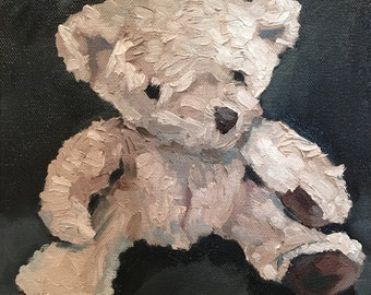 "Contemorary art, still life oil painting on canvas, soft teddy bear painting for kids room decore or wall decore: ""Teddy Bear II"" 8""x8"""