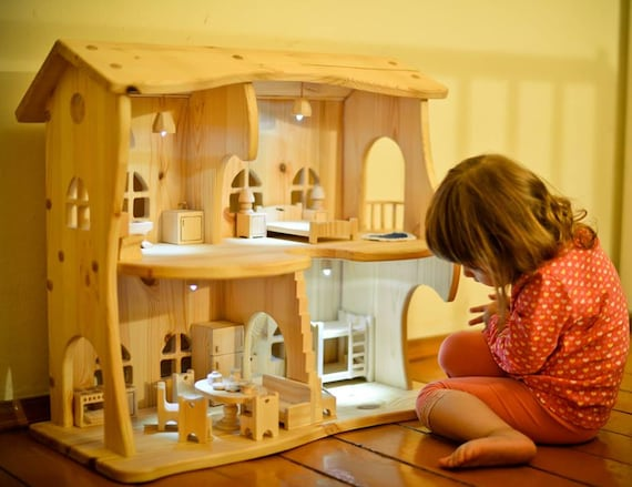 doll house lighting. Wooden Dollhouse Lighting Kit Without Furniture Christmas Gift Montessori Waldorf Multi-storey House Eco Toys Apartments For Doll