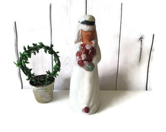 Swedish Vintage Ceramic Girl Figurine Collectible Handmade Figurines By Skaneform Sweden 70s