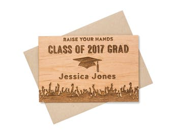 2018 College Graduation Card. Personalized Graduation Card. High School Graduation Wood Card. Class of 2018 Congrats Cards