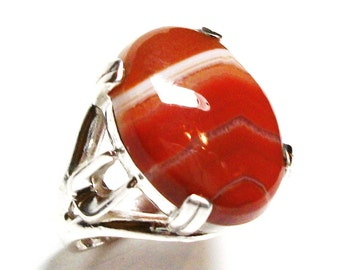 """Agate ring, striped agate ring, agate cabochon ring, solitaire ring, anniversary, orange white brown,  s 6 1/4  """"Sienna"""""""