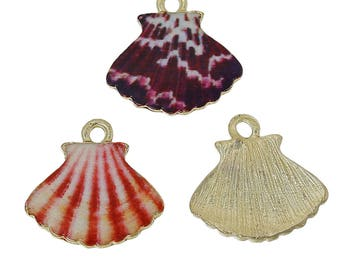 3 pendants charms 16 mm x Navy blue white red brown glaze and gold metal.