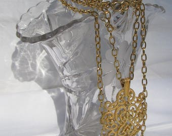 "Retro TRIFARI Signed Gold Double Chain Large Pendant Necklace, 28"" Lower Chain, Textured Openwork 2.5"" Pendant"