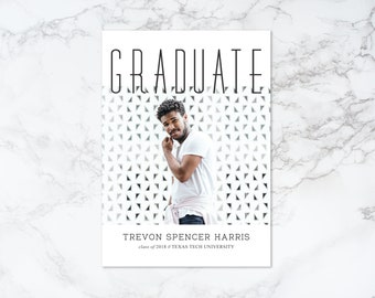 Printable Black and White Modern Photo Card Graduation Invitation or Announcement