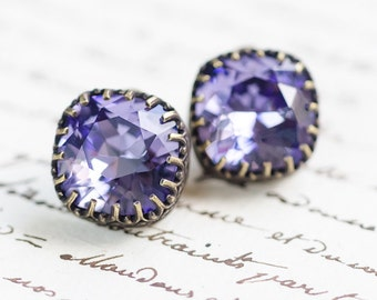 Tanzanite Cushion Cut Crystal Stud Earrings - FREE SHIPPING