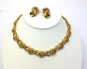 Vintage 50s Mazer Bros Rhinestone Necklace & Earrings Gold Link Choker Clip Back Earrings Signed