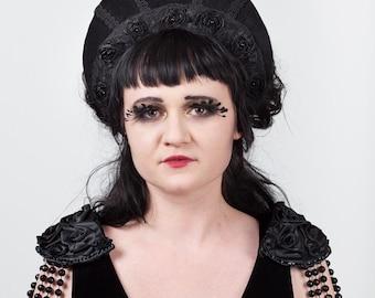 Velvet & Lace Kokoshnik Headdress, Gothic Headdress, WGT.