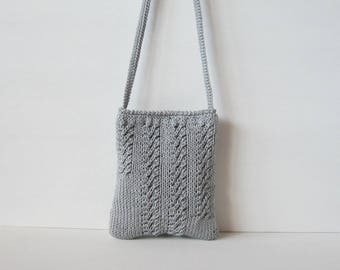 Shoulder bag, grey cotton neck cell phone, knitted bag, handbag, handmade handbags, grey cotton knitted cell phone carrier