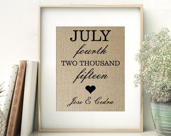 Wedding Date Burlap Print | Anniversary Print | Couples Wedding Gift | Anniversary Keepsake | Special Important Dates Print | Birth Date