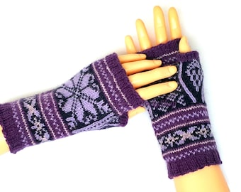 Purple Blue Hand Knitted Nordic style Fingerless Gloves Hand Warmers Wrist Warmers Arm Warmers Nordic Mittens Texting Gloves Driving Gloves