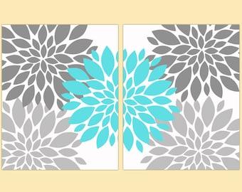 "Flower Bursts Botanical  Art 2 - 8"" x 10"" // Grey and Aqua Blue // Digital Fine Art Modern Wall Art Set Prints Home Decor (108)"