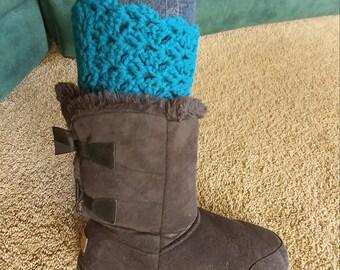 Teal Boot Cuffs, Crochet