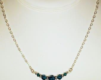"""Cynthia Lynn """"CELEBRATE""""  Emerald Green Swarovski Crystal May Birthstone Silver Necklace"""