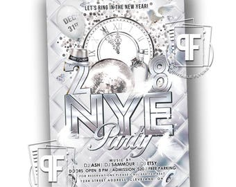 New Year's Eve Invitation - New Years Eve Invitation - New Year Party Invitation - New Years Party - White New Years Party Invitation