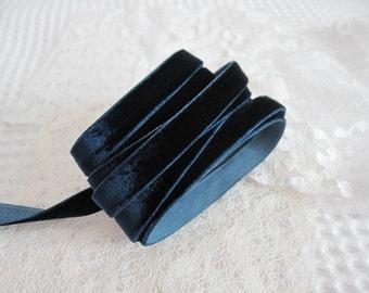 3 Yards Navy Velvet Ribbon 3/8 inch - 07