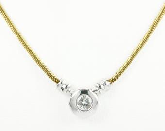 14K Two Tone Diamond Solitaire Necklace, Diamond Necklace, Minimalist Necklace, Bezel Set Diamond Solitaire Necklace, Solitaire Diamond Neck
