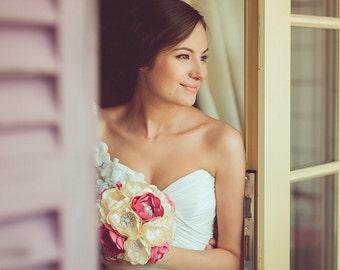 Brooch bouquet, ivory Dusty Pink Fabric Wedding Bouquet, Unique Fabric Flower Bridal Bouquet