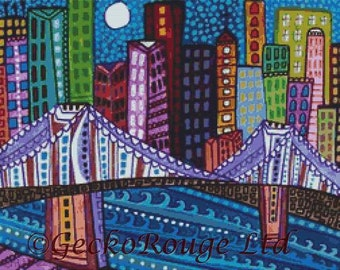 Modern Cross Stitch Kit 'Brooklyn Bridge' By Heather Galler - Abstract Art NYC CrossStitch Kit