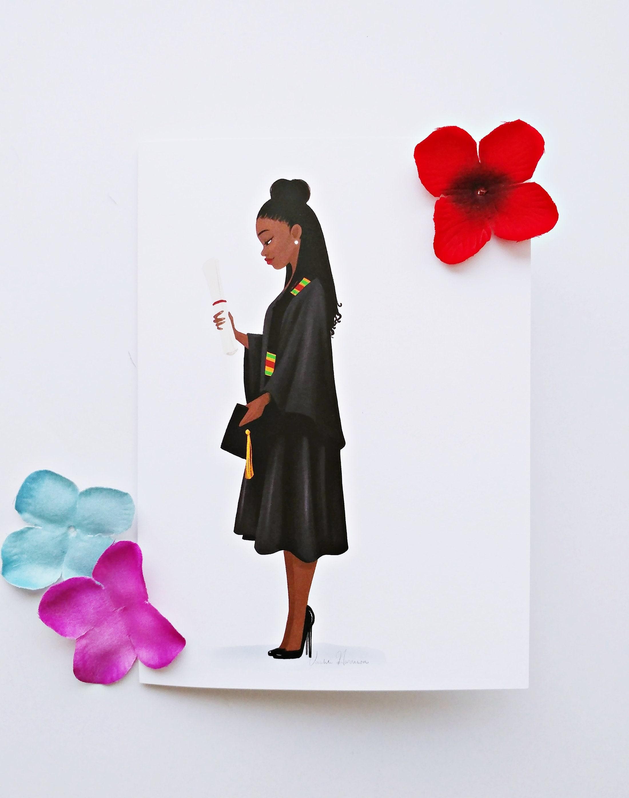 Diy Blank Locbraids Graduate African American Framable Black