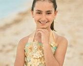 Aqua and Gold Dress Beach...