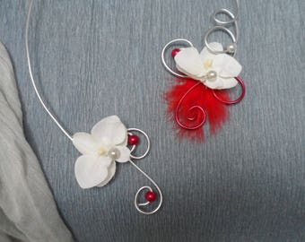 Floral necklace for bride - white and Red - silver Orchid