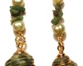 Turban shell pierced earrings with emerald chips and light green freshwater pearls.