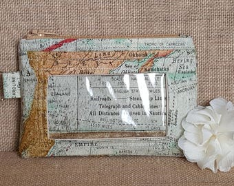 ID Wallet / Keychain Wallet / ID Holder in a World Map Print