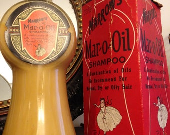 Art Deco Marrow's MAR-O-OIL Shampoo in Box 1928 N.O.S. Barber / Beauty Shop