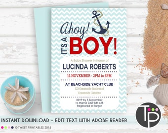 NAUTICAL Baby Shower Invitation, Instant Download ANCHOR Baby Shower Invitation, Nautical Boy Baby Shower,Edit yourself with Adobe Reader
