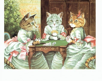 Susan Herbert Cats Playing Cards Humorous, Fine Art Print, Book Page, Illustration, Wall Decor, Cat Lovers VC20