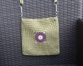 Crochet Bag , crossbody bag in sage green, violet and white  cotton