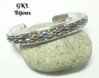 Cuff Bracelet, women bracelet, woven glass beads, blue / gray, silver plated brass