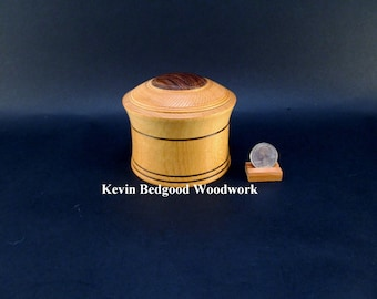 Box Lidded Container Yellowheart with Mexican Bocote insert Turned wood Stash Jewelry
