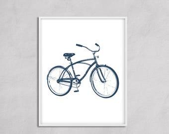 Bicycle Wall Art Printable, Instant Download Bike Art, Navy Transportation Nursery Art, Blue Boy Wall Art, Beach Art Bicycle, Bike Printable