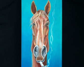 "Smoking Horse (teal background) 6"" x 12"" professional print"