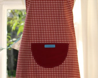 Red and White Check Print Apron. Womens/Mens Full Apron