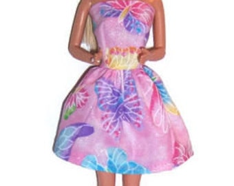 Fashion Doll Clothes-Glittery Pink Butterfly Print Strapless Party Dress