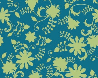 Quilting Treasures - Lydia by Nicole Tamarin Dk Teal Floral Vine 24630 Q - Quilt, Quilting, Clothing, Crafts