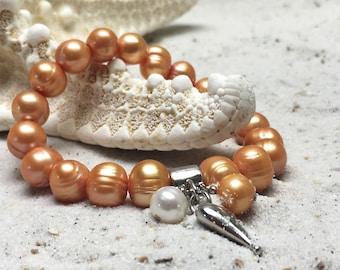 fresh-water pearl Bracelet, sterling silver hart shaped pendant