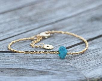 Blue Apatite Rough Crystal & Gold Vermeil Beaded Bracelet Anniversary Birthday Dainty Delicate Semi Precious Gemstones Minimalist