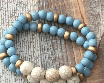 Beaded blue bracelet set