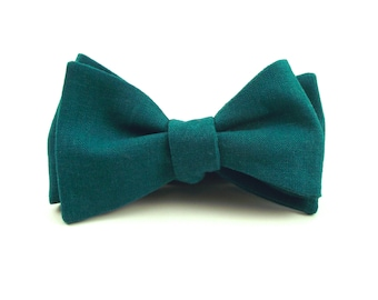 Teal Bow Tie, Dark Teal Blue-Green Linen Bowtie, Green Bow Tie, Deep Teal - Traditional Self-Tie or Pre-Tied