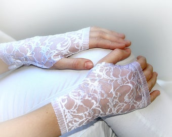 Lace Gloves in  White, stretch lace, finger less lace gloves, Bride, bridesmaid, gift for her.  Ready to ship.