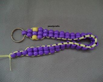 Snake key chain , Purse charm , Back pack charm,Purple  Car accessories , Beaded key chain , Key chain , Key charm , Back to school gift