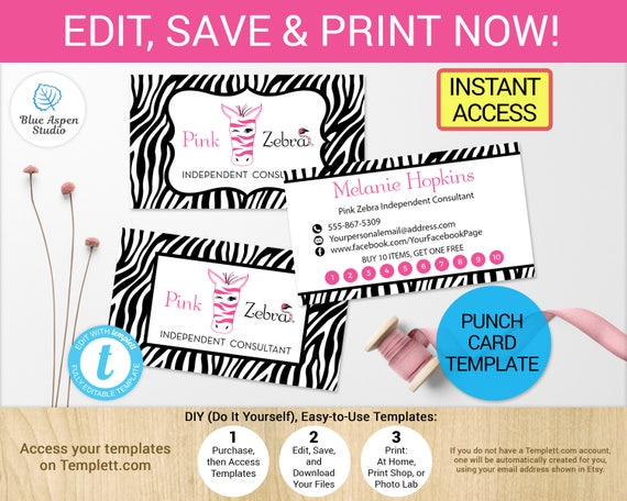 Pink Zebra Punch Card Loyalty Business Cards Printable Digital - Free printable billing invoice forms online store credit cards guaranteed approval