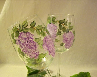 Free shipping Lilacs hand painted on a pair of pretty  glasses