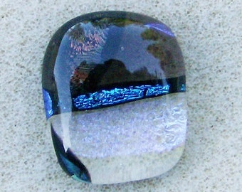 Dichroic Glass Cabochon - Fantastic Purple, Blue Multicolored on Clear Rectangle, Handmade by JewelryArtistry - DC824